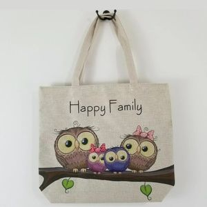 Womens Super Cute Happy Family Owls Shoulder Tote